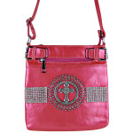 HOT PINK RHINESTONE STUDDED CROSS MESSENGER BAG MB1-C889HPK