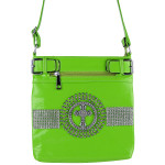 GREEN RHINESTONE STUDDED CROSS MESSENGER BAG MB1-C889GRN