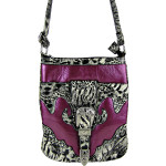 PURPLE LEOPARD PRINT BUCKLE MESSENGER BAG MB1-C978PPL