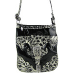 BLACK LEOPARD PRINT BUCKLE MESSENGER BAG MB1-C978BLK