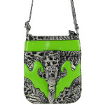 GREEN LEOPARD PRINT BUCKLE MESSENGER BAG MB1-C978GRN