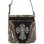 BLACK WESTERN WEAVE MOSSY CAMO CROSS LOOK MESSENGER BAG MB1-HC0068-1BLK