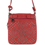 PINK STUDDED RHINESTONE LOOK MESSENGER BAG MB1-HC0064PNK
