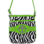 GREEN CROSS ZEBRA LOOK MESSENGER BAG MB1-9114GRN