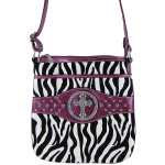 PURPLE CROSS ZEBRA LOOK MESSENGER BAG MB1-9114PPL