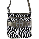 GRAY CROSS ZEBRA LOOK MESSENGER BAG MB1-9114GRY