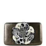 GRAY LEOPARD FLOWER DISTRESSED LOOK FLAT THICK WALLET FW2-0750GRY