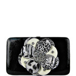 BLACK LEOPARD FLOWER DISTRESSED LOOK FLAT THICK WALLET FW2-0750BLK