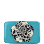 TURQUOISE LEOPARD FLOWER DISTRESSED LOOK FLAT THICK WALLET FW2-0750TRQ