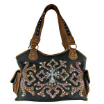 BROWN WESTERN STUDDED DESIGN CROSS SHOULDER HANDBAG HB1-L1069-1BRN