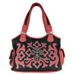 PINK WESTERN STUDDED DESIGN CROSS SHOULDER HANDBAG HB1-L1069-1PNK
