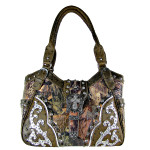 BROWN MOSSY CAMO OSTRICH STUDDED RHINESTONE CROSS BUCKLE LOOK SHOULDER HANDBAG HB1-HL12107-1BRN