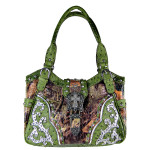 GREEN MOSSY CAMO OSTRICH STUDDED RHINESTONE CROSS BUCKLE LOOK SHOULDER HANDBAG HB1-HL12107-1GRN