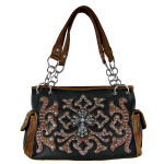 BROWN WESTERN STUDDED DESIGN CROSS LOOK SHOULDER HANDBAG HB1-HC0036BRN