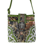 GREEN MOSSY CAMO OSTRICH STUDDED RHINESTONE CROSS BUCKLE LOOK MESSENGER BAG MB1-HC0070GRN