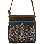 BROWN WESTERN STUDDED DESIGN CROSS LOOK MESSENGER BAG MB1-HC0068BRN