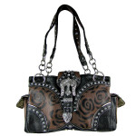 BROWN FLORAL STUDDED RHINESTONE CROSS BUCKLE LOOK SHOULDER HANDBAG HB1-RFM847BRN