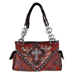 RED WESTERN STITCH CROSS CONCEALED CARRY LOOK SHOULDER HANDBAG HB1-CHF0031RED