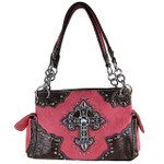 HOT PINK WESTERN STUDDED CROSS LOOK SHOULDER HANDBAG HB1-MS008HPK