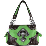 GREEN WESTERN STUDDED CROSS LOOK SHOULDER HANDBAG HB1-MS008GRN