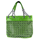 GREEN STUDDED CIRCLE RHINESTONE DESIGN LOOK SHOULDER HANDBAG HB1-6104GRN