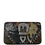 BROWN TOOLED MOSSY CAMO BUCKLE LOOK FLAT THICK WALLET FW2-1220BRN