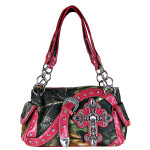 HOT PINK MOSSY CAMO RHINESTONE CROSS BUCKLE SHOULDER HANDBAG HB1-K8190-1HPK