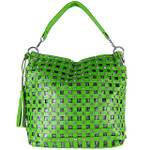GREEN RHINESTONE WEAVE CROC LOOK SHOULDER HANDBAG HB1-C1007-1GRN