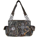 BROWN MULTI MOSSY CROSSES SHOULDER HANDBAG HB1-1806BRN