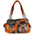 ORANGE MOSSY CAMO RHINESTONE PISTOLS BUCKLE SHOULDER HANDBAG HB1-K8190ORG