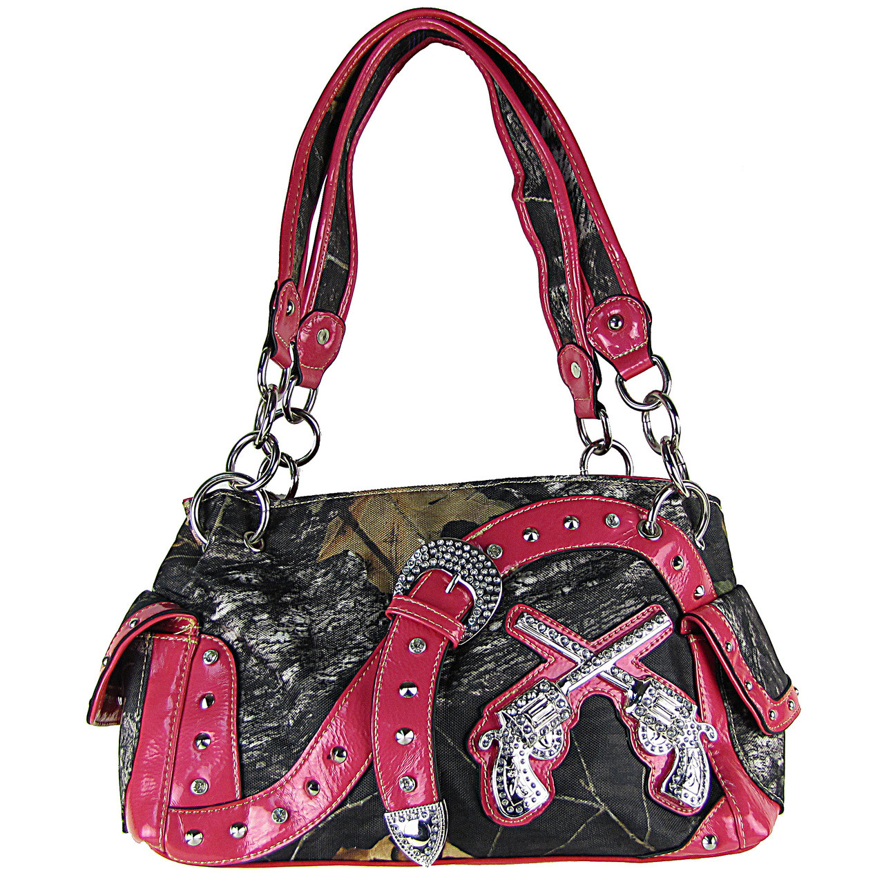 hot pink mossy camo rhinestone pistols buckle shoulder