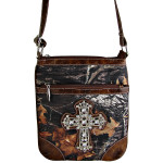 BROWN CROSS MOSSY LOOK MESSENGER BAG MB1-10100BRN