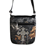 BLACK CROSS MOSSY LOOK MESSENGER BAG MB1-10100BLK