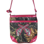 HOT PINK PISTOLS MOSSY LOOK MESSENGER BAG MB1-10101HPK