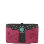HOT PINK WESTERN TOOLED TASSEL LOOK FLAT THICK WALLET FW2-1261HPK