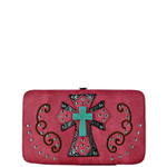 PINK WESTERN TURQUOISE CROSS FLAT THICK WALLET FW2-0474PNK