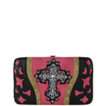HOT PINK WESTERN LASER CUT CROSS DESIGN FLAT THICK WALLET FW2-0401HPK