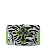 GREEN ZEBRA WESTERN CROSS FLAT THICK WALLET FW2-0479GRN
