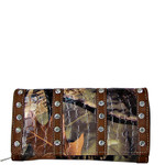 BROWN RHINESTONE LEATHERETTE MOSSY CAMO LOOK CHECKBOOK WALLET CB1-1216BRN