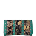TURQUOISE RHINESTONE LEATHERETTE MOSSY CAMO LOOK CHECKBOOK WALLET CB1-1216TRQ