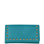 TURQUOISE STUDDED LEATHERETTE LOOK CHECKBOOK WALLET CB1-1273TRQ