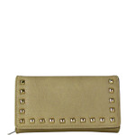 BEIGE STUDDED LEATHERETTE LOOK CHECKBOOK WALLET CB1-1273BEI