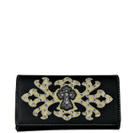 BEIGE RHINESTONE CROSS PATTERN LEATHERETTE LOOK CHECKBOOK WALLET CB1-0424BEI