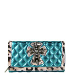 TURQUOISE RHINESTONE CROSS LEOPARD PATTERN SHINY METALLIC LEATHERETTE LOOK CHECKBOOK WALLET CB1-0425TRQ