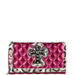 PINK RHINESTONE CROSS LEOPARD PATTERN SHINY METALLIC LEATHERETTE LOOK CHECKBOOK WALLET CB1-0425PNK