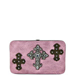 LIGHT PINK WESTERN RHINESTONE CROSS PATTERN FLAT THICK WALLET FW2-0464LPK