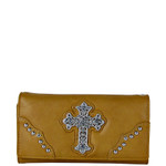 TAN RHINESTONE CROSS  LEATHERETTE LOOK CHECKBOOK WALLET CB1-0451TAN