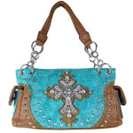 TURQUOISE STUDDED RHINESTONE CROSS TOOLING LOOK SHOULDER HANDBAG HB1-35LCR-1TRQ