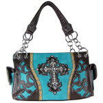 TURQUOISE WESTERN RHINESTONE CROSS LOOK SHOULDER HANDBAG HB1-43LCRTRQ