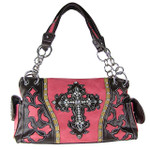 HOT PINK WESTERN RHINESTONE CROSS LOOK SHOULDER HANDBAG HB1-43LCRHPK